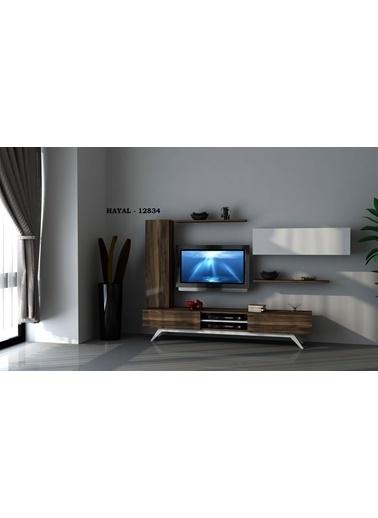 Sanal Mobilya Hayal 12834 Tv Ünitesi Leon Ceviz/Parlak Beyaz Beyaz